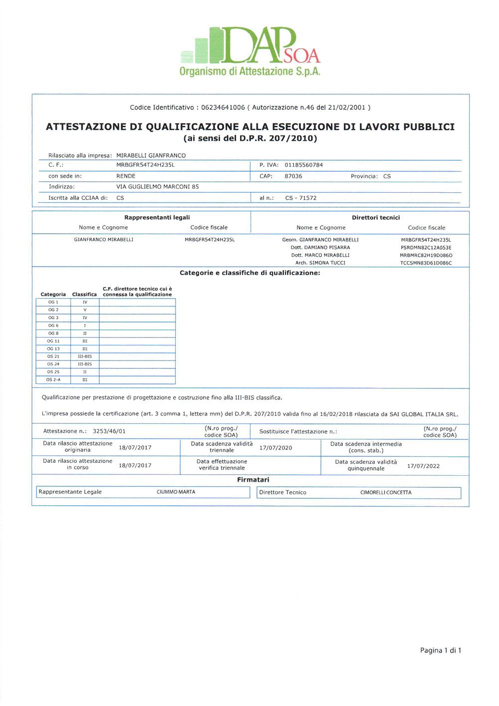 Certificazione DAP-SOA