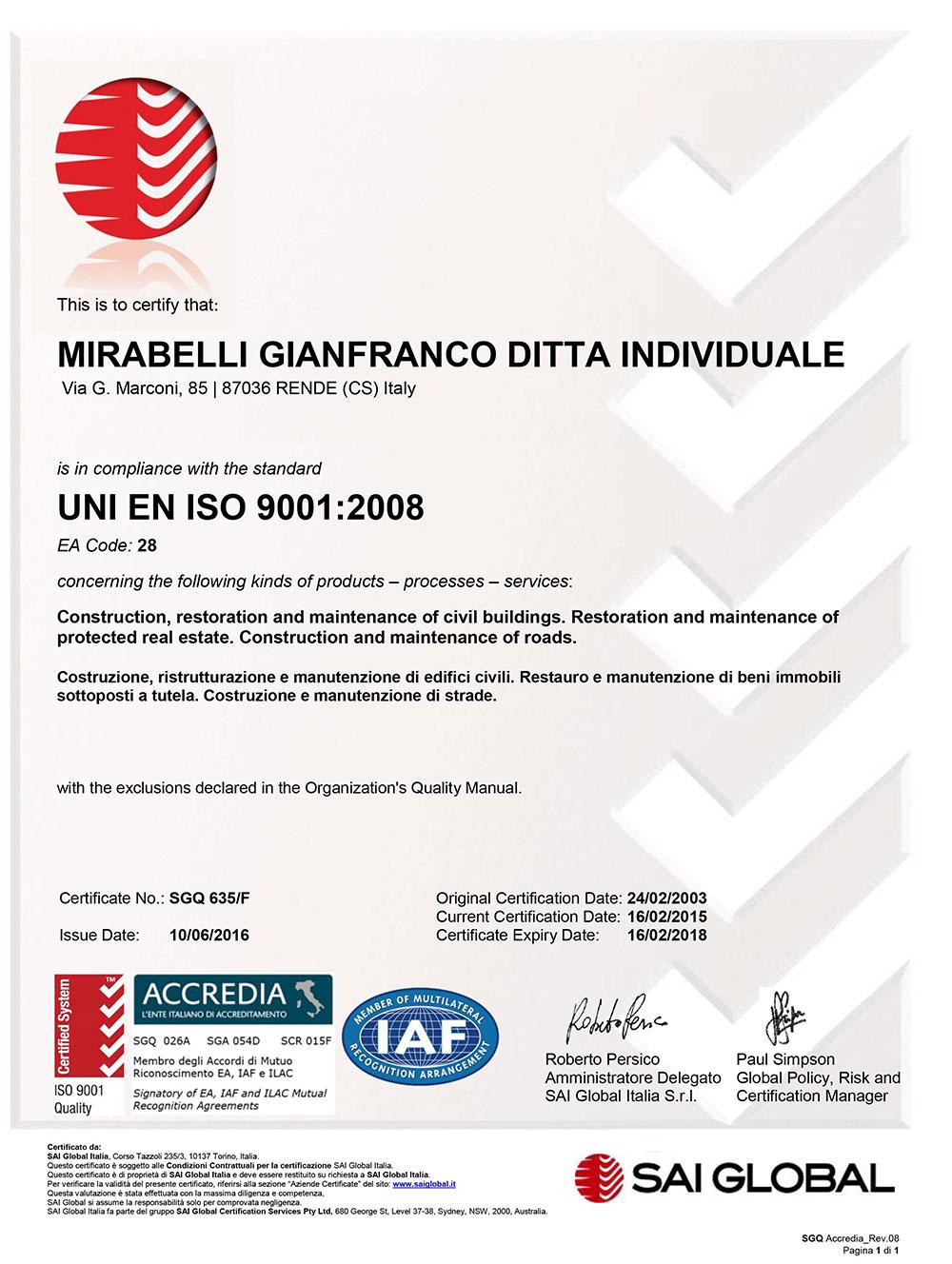 Certificazione UNI-EN-ISO-9001 2008
